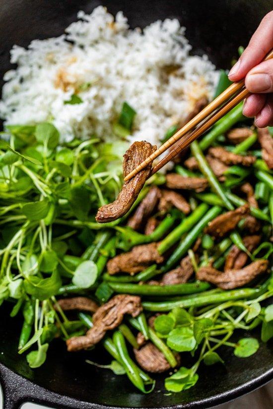Salteado De Carne De Res Negimaki Con Judías Verdes