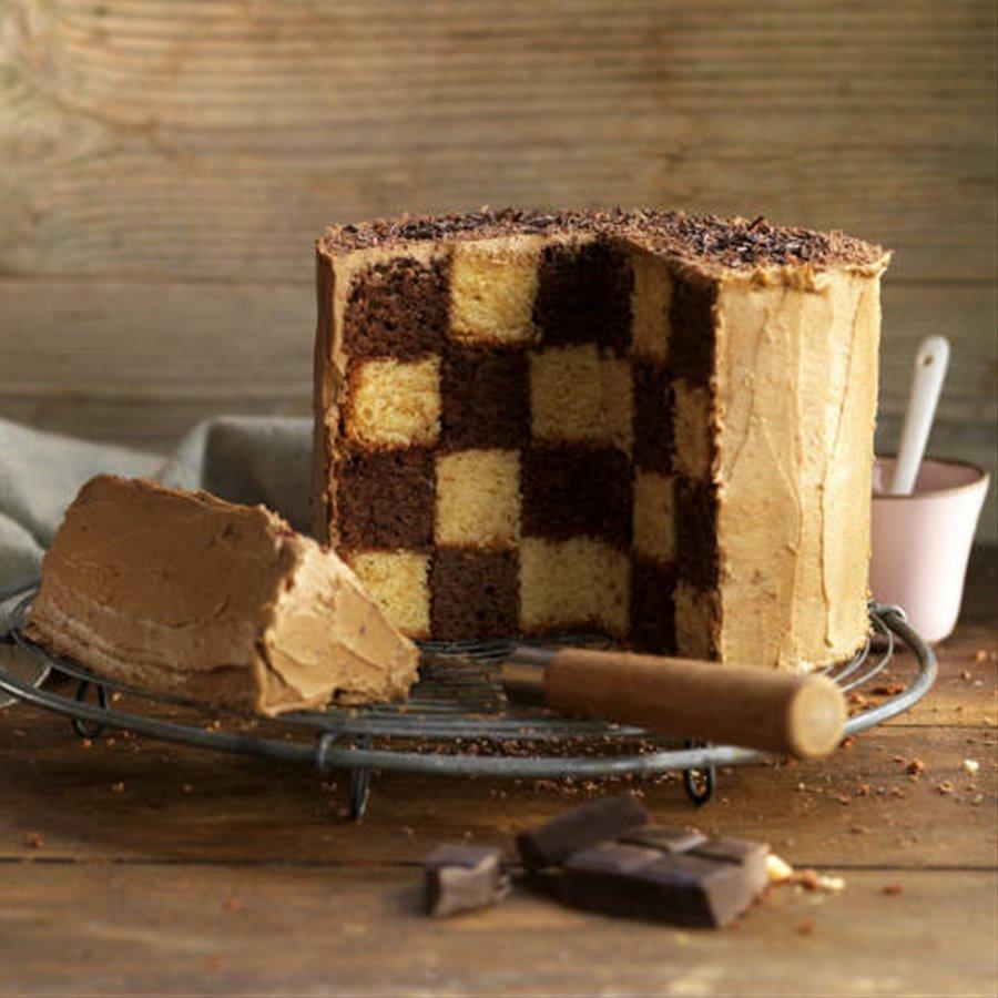 Bizcocho ajedrez de vainilla y chocolate