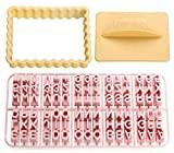 Cortador de galletas Zenker rectangular, con letras, números y signos de corazón, gris y rosa, 5 cm, 3 piezas, multicolor, 10x7,5x2cm