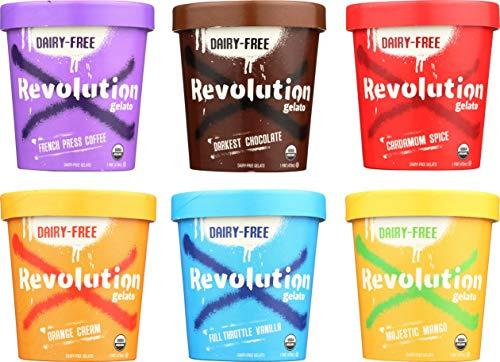 Helado revolucionario 6 pintas de muestras de envases: 1 chocolate, 1 vainilla, 1 mango, 1 naranja, 1 café, 1 cardamomo;  sin lácteos, cultivado orgánicamente, a base de plantas, sin gluten, vegetariano kosher, no contiene ingeniería genética