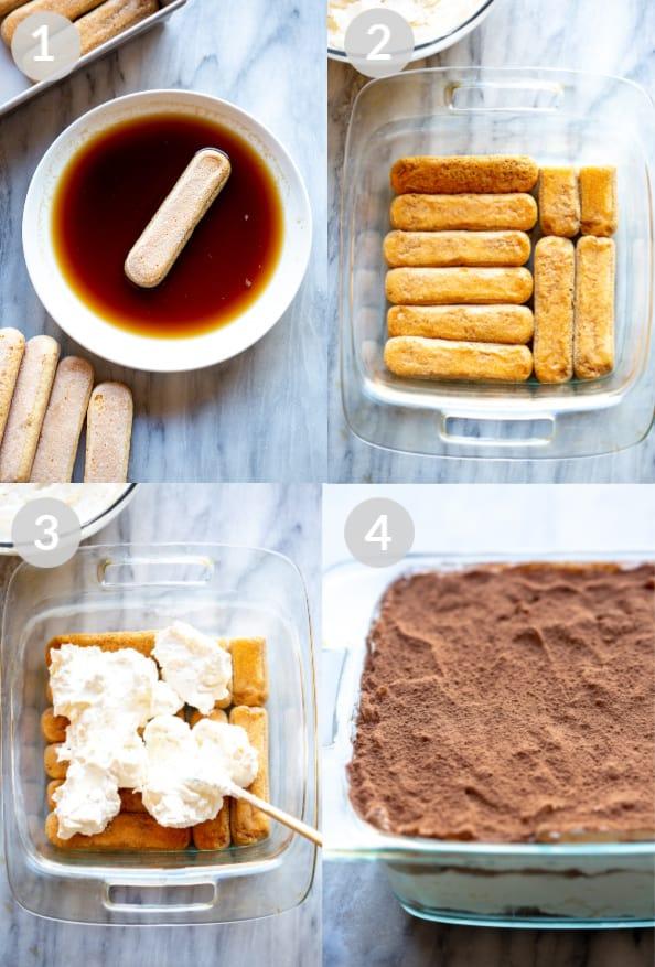 Procese la foto para colocar el tiramisú en capas, lo que incluye sumergir las galletas en el espresso, colocar en capas el plato, agregar crema de mascarpone, colocar nuevamente en capas y espolvorear cacao en polvo encima.