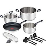 Tefal Daily Cook-A Juego de 1 sartén y 3 cacerolas + tapa y accesorios: sartén de 28 cm, sartén de 16 cm, cacerola de acero inoxidable de 20/24 cm, 2 tapas de vidrio, 5 accesorios de cocina, foco térmico, todo tipo de utensilios de cocina cocinados